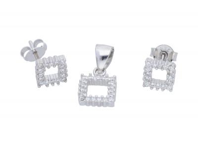 Set argint 925 cercei si pandant model geometric