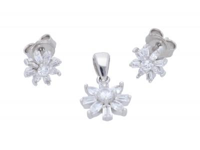 Set bijuterii argint cercei si pandant cu zirconii