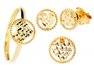 Set bijuterii din aur 14K inimioara