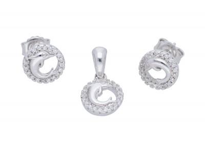 Set delfinasi cercei si medalion argint 925