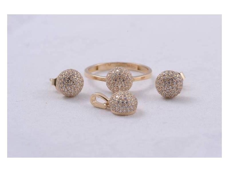 Set aur bijuterii deosebite cu zirconii inel,cercei si pandant