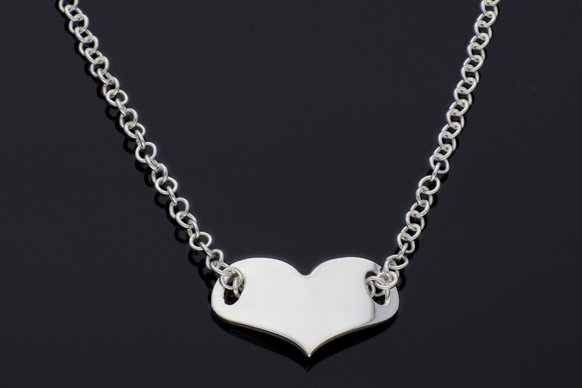 Bijuterii argint lant cu pandantiv inimioara gravabila