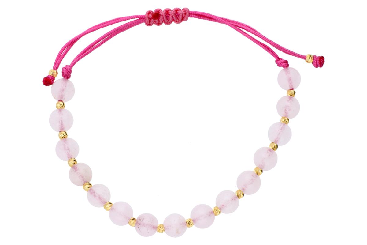 Bijuterii aur 14K brtara cu snur roz