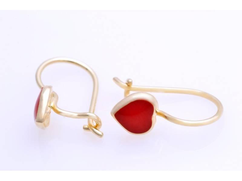 Bijuterii aur online - Cercei copii aur 14K galben inimioare