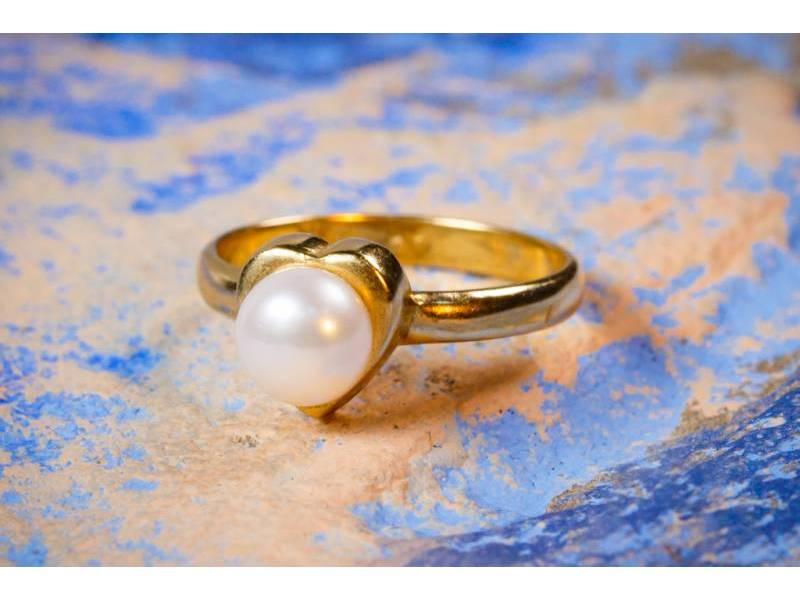Bijuterii aur online - Inele dama din aur 14K galben perla