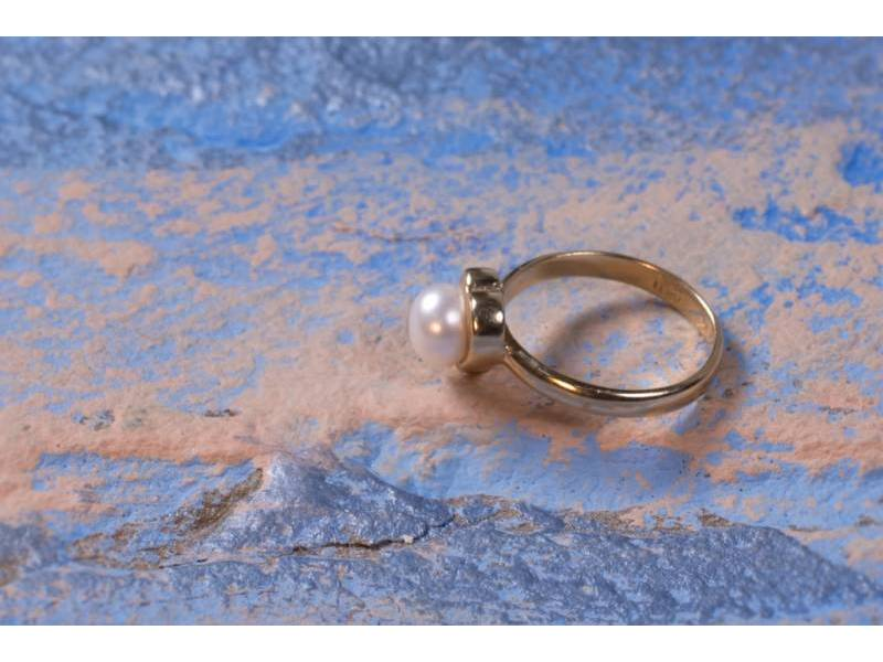 Bijuterii aur 14K inel perla
