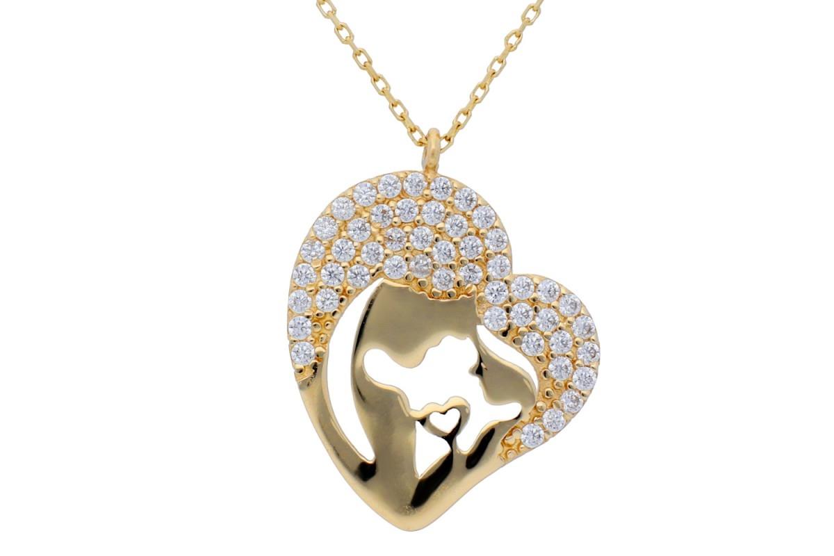 Bijuterii aur cadou lant cu pandant mama si copilul