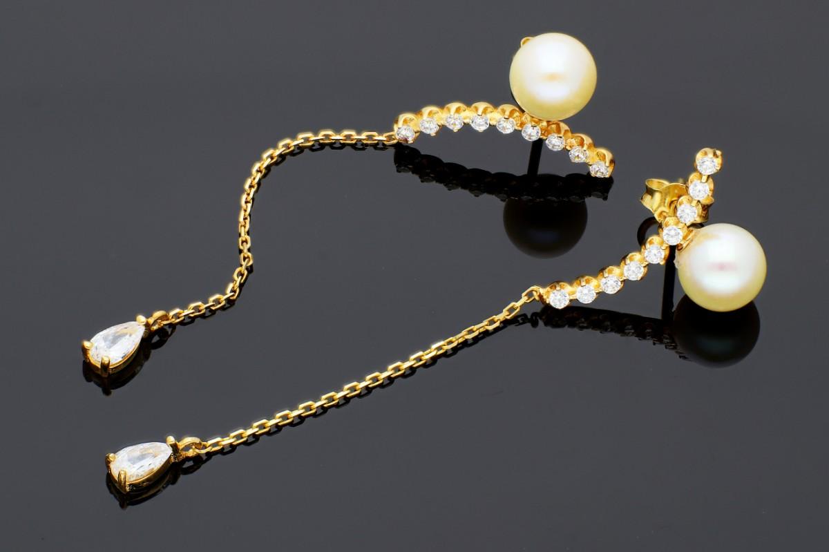 Bijuterii aur - Cercei cu surub dama din aur 14K galben perluta si zirconii