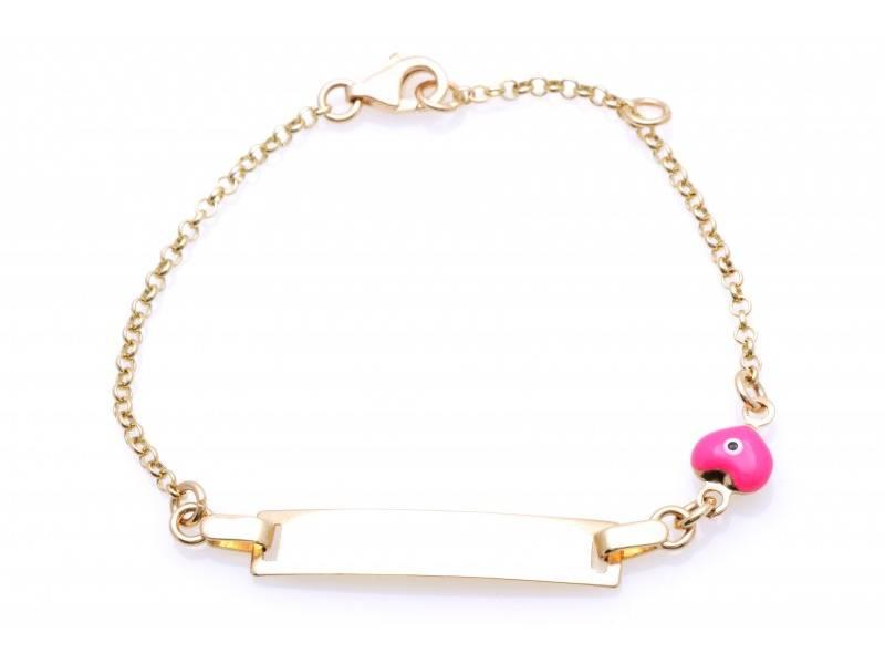 Bijuterii aur cu placuta pentru copii-model inimioara