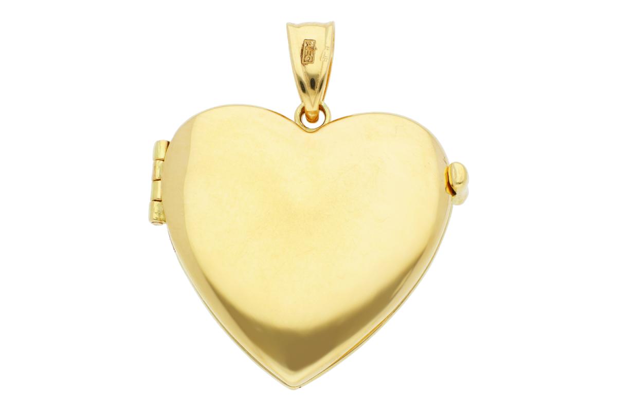 Bijuterii aur - Medalion din aur 14K galben caseta foto inimioara gravabila