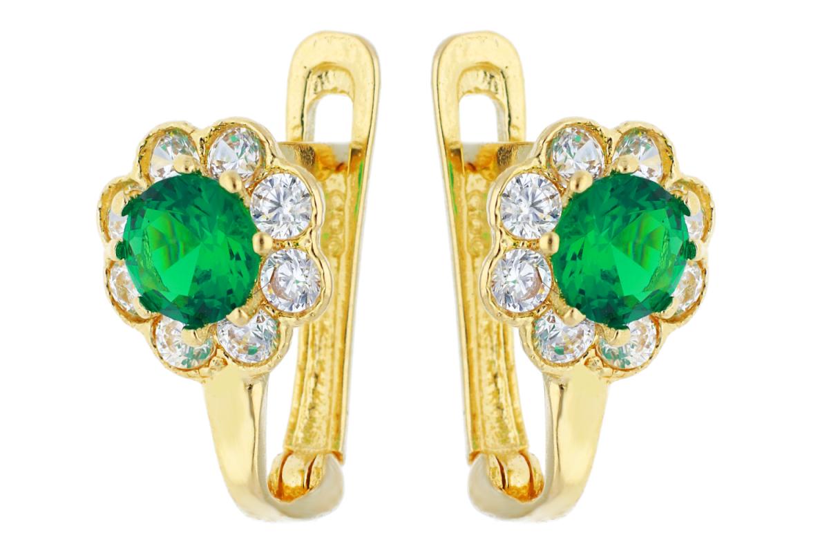 Bijuterii aur online - Cercei copii aur 14K galben zirconia verde