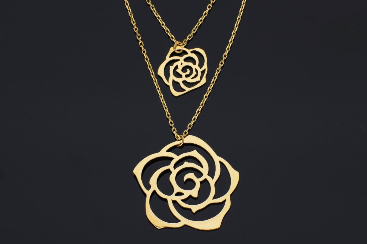 Bijuterii aur online - Lantisoare cu pandantiv dama din aur 14K galben flori