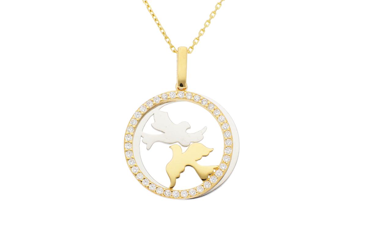 Bijuterii aur online - Lantisor cu pandantiv din aur 14K galben pasari si zirconii albe