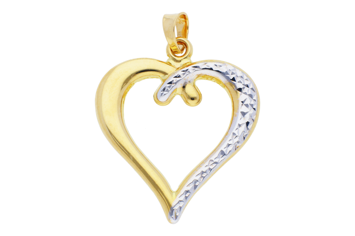 Bijuterii aur online - Pandant dama din aur 14K galben si alb inimioara