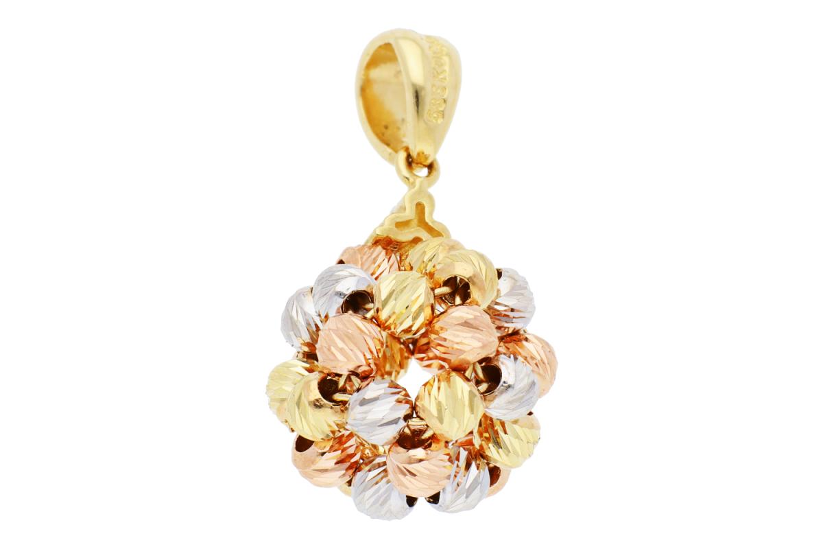 Bijuterii aur - Pandant dama din aur 14K galben, alb si roz