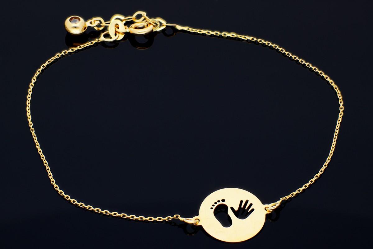 Bijuterii din aur - Bratara mobila dama aur 14K galben banut picioruse manuta bebe