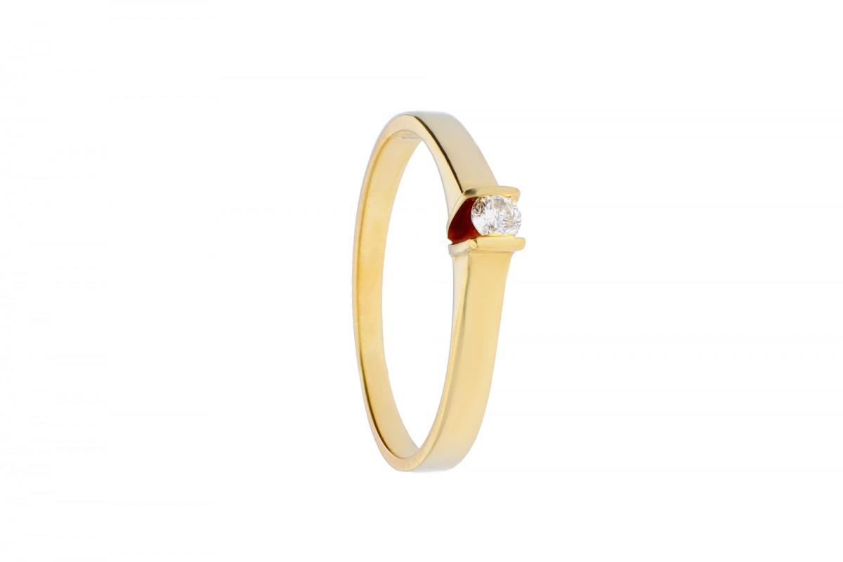 Inel de logodna cu diamante  aur 14k