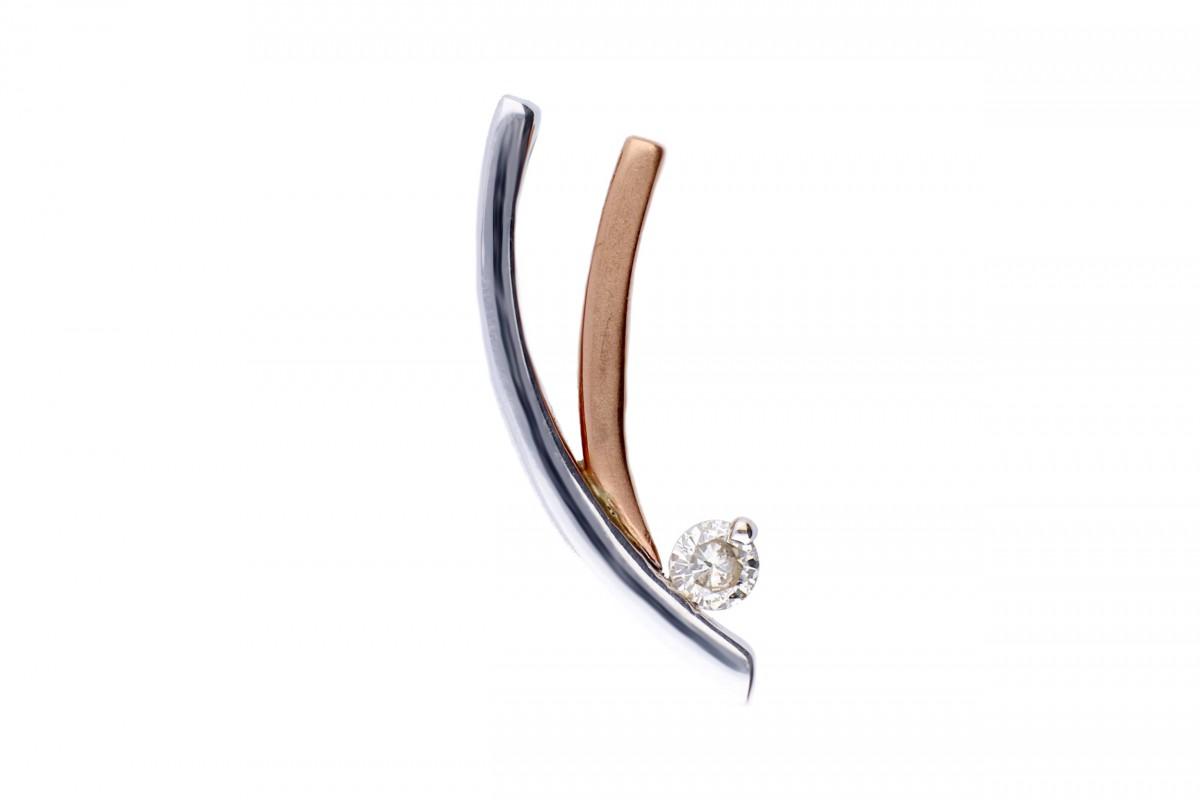 Bijuterii aur - Medalion din aur 14K alb si roz cu diamant
