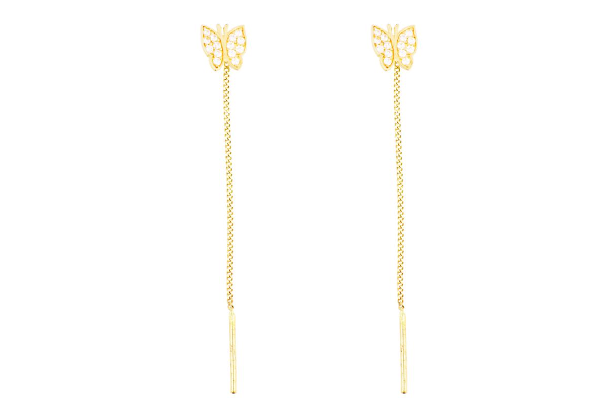 Bijuterii din aur - Cercei cu lant aur 14K galben fluturas