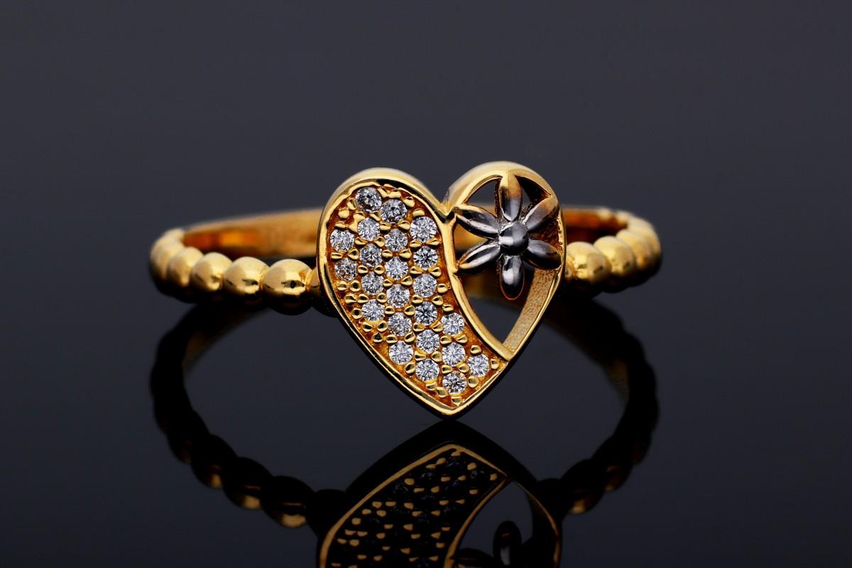 Bijuterii aur online - Inel dama din aur 14K alb si galben inimioara