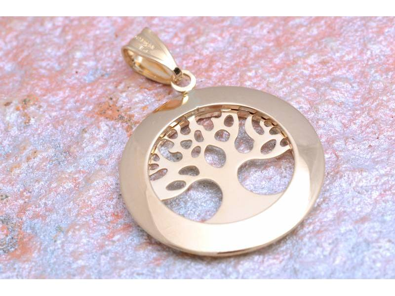 Bijuterii aur - Medalion dama aur 14K galben pomul vietii