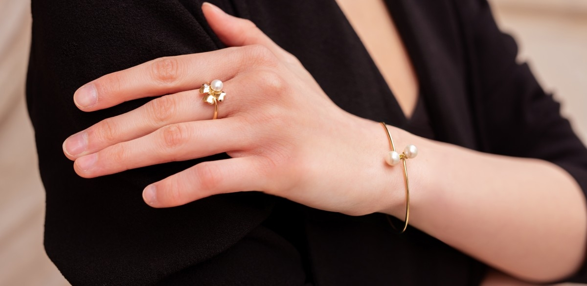 Bijuterii din aur - Inele aur 14K galben si alb trifoi cu perluta