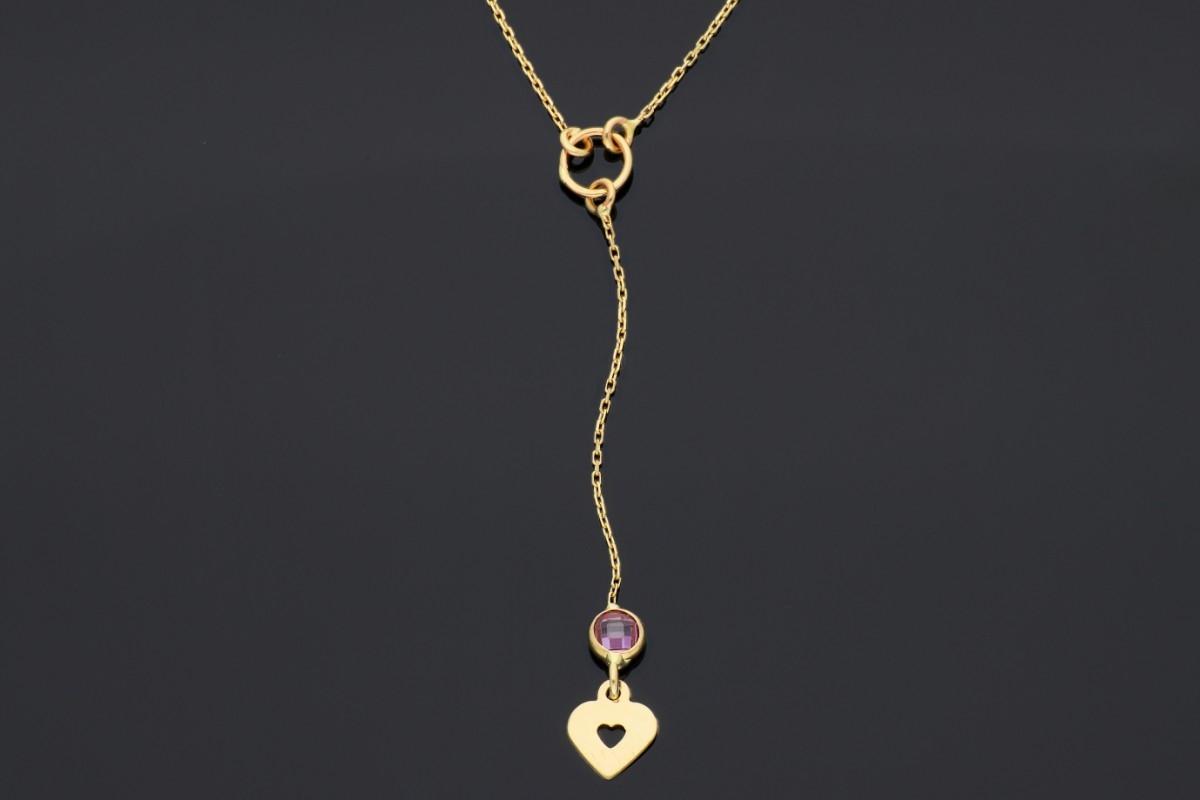 Bijuterii din aur - Lantisoare cu pandantiv din aur 14K inimioara si zirconia roz