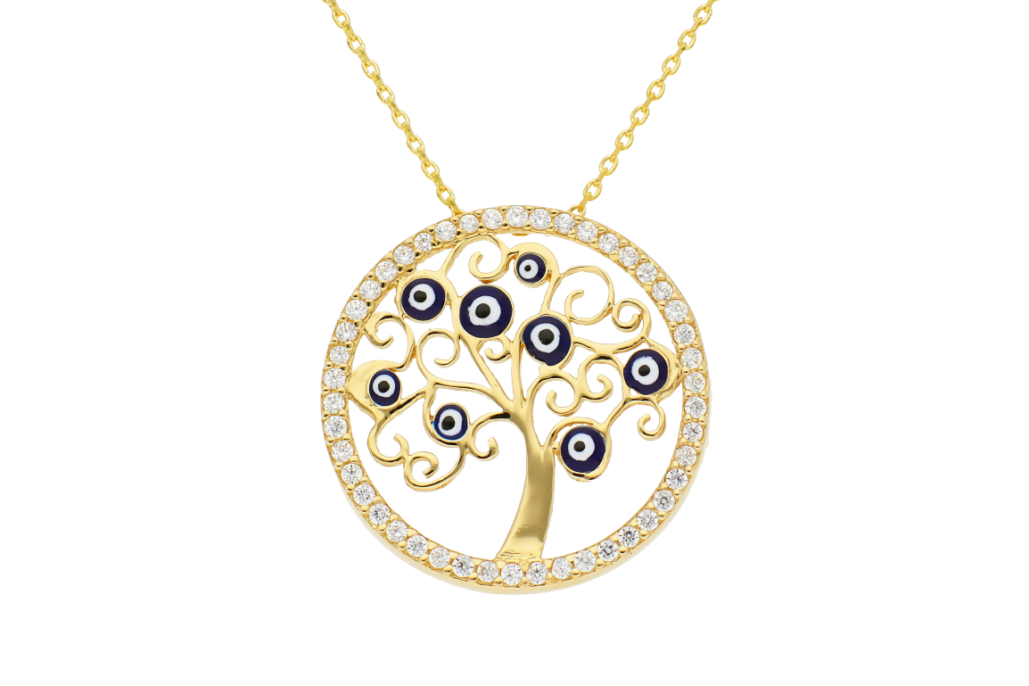Bijuterii din aur - Lantisor cu pandantiv aur 14K galben pomul vietii cu ochi de deochisi zirconii