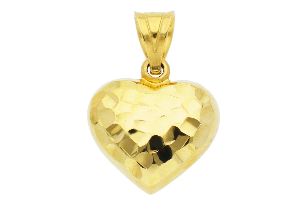 Bijuterii din aur - Pandant inimioara 2 fete gravabila din aur 14K galben