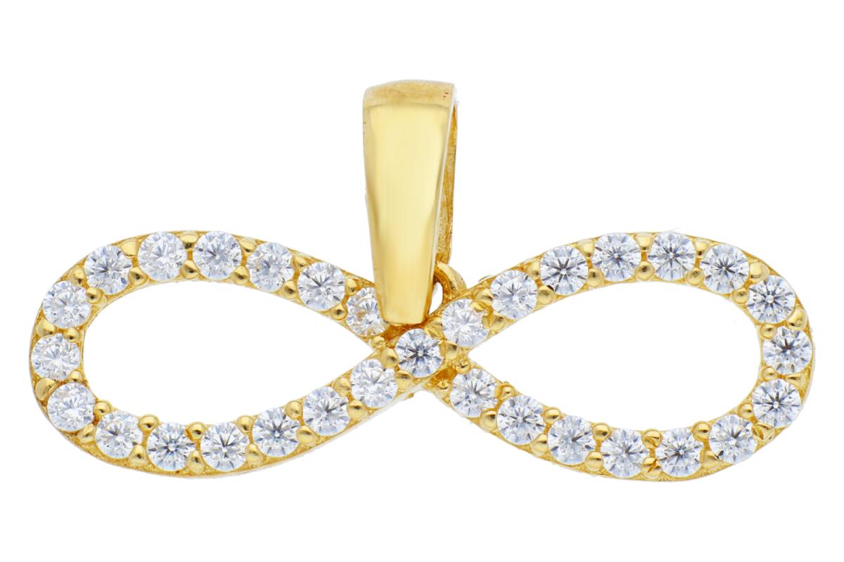 Bijuterii din aur - Pandantive aur 14K galben infinit zirconii