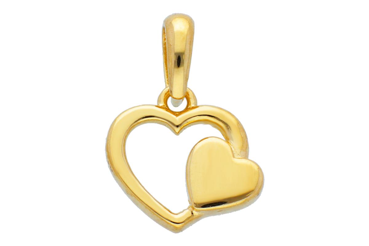 Bijuterii din aur - Pandantive din aur 14K galben inimioare