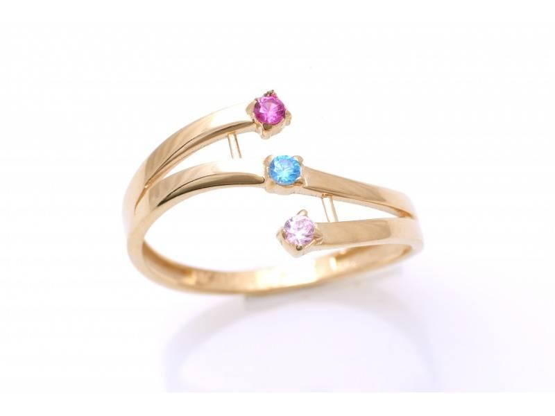 Bijuterii inel aur 14k mix pietre colorate