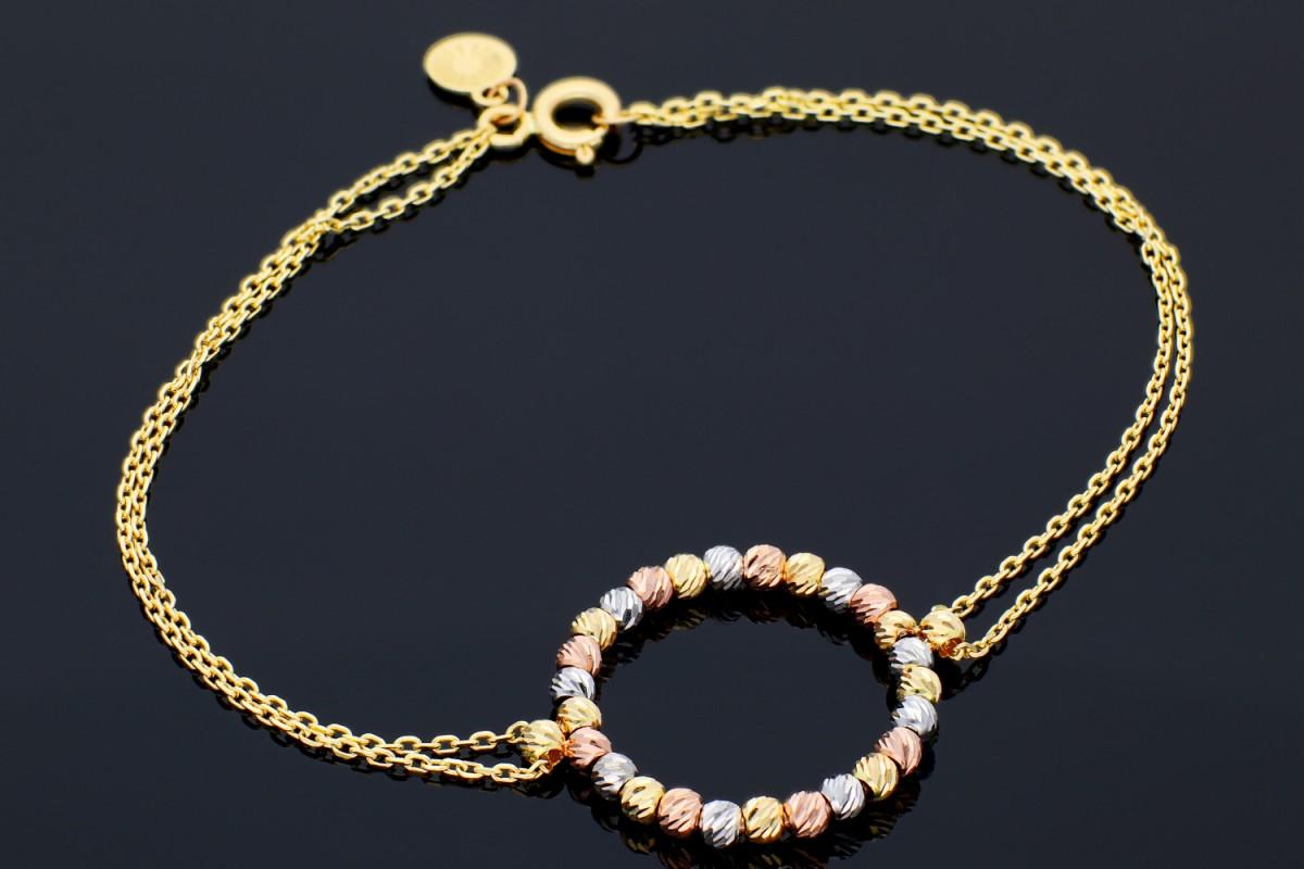 Bijuterii aur online - Bratara mobila dama din aur 14K galben bilute