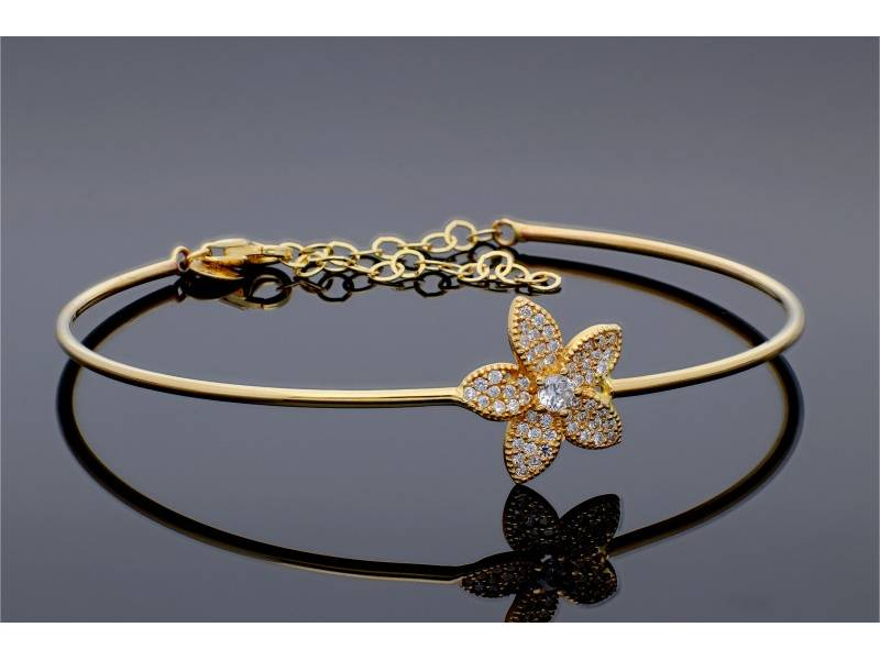 Bratara aur 14K floare lotus