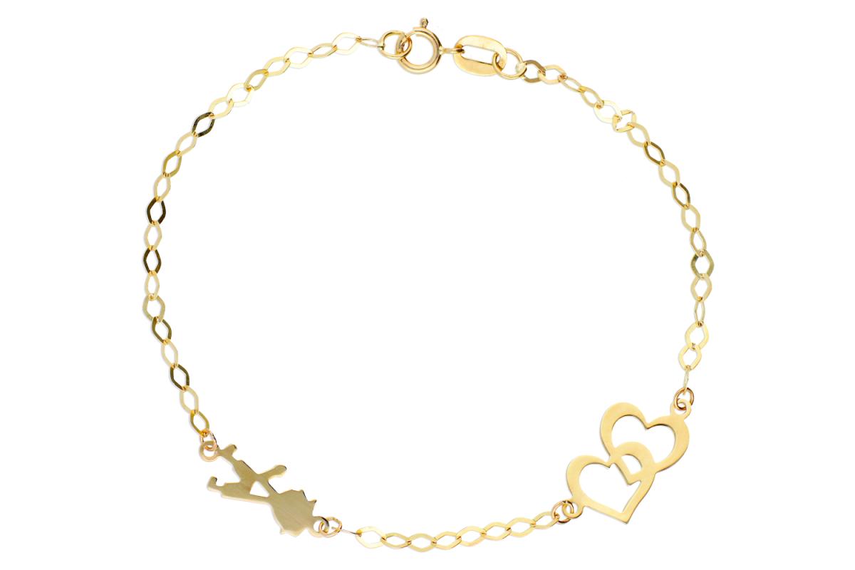 Bijuterii din aur - Bratari copii aur 14K galben  inimioare baietel