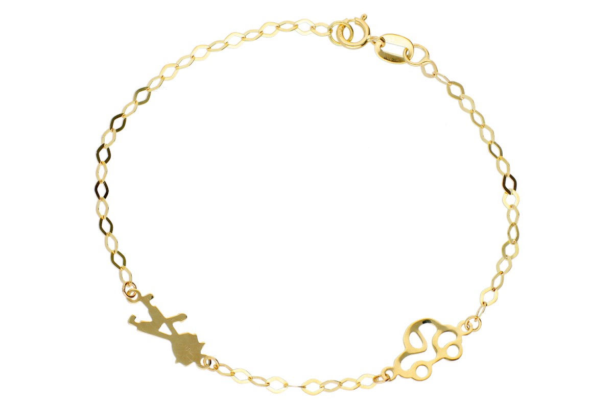 Bijuterii aur online - Bratari copii din aur 14K galben masinuta baietel
