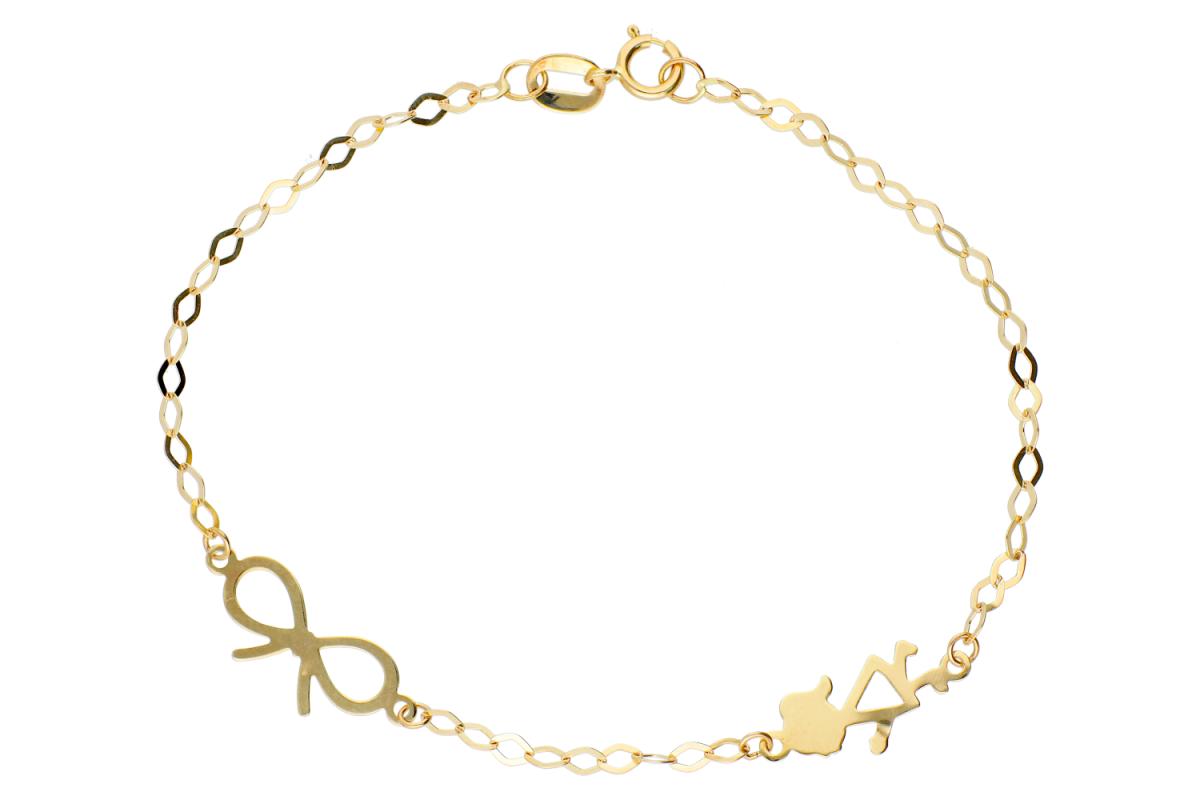 Bijuterii aur - Bratara copii aur 14K galben fetita fundita