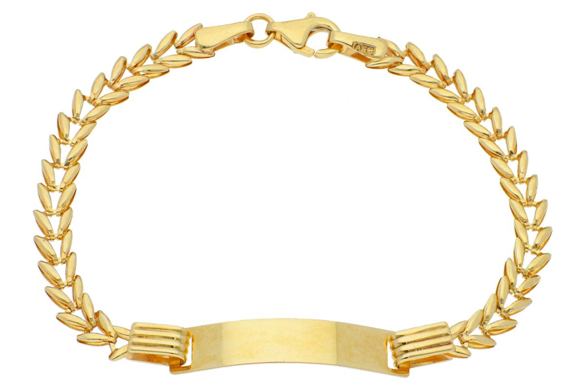 Bratari copii din aur 14K galben placuta gravabila