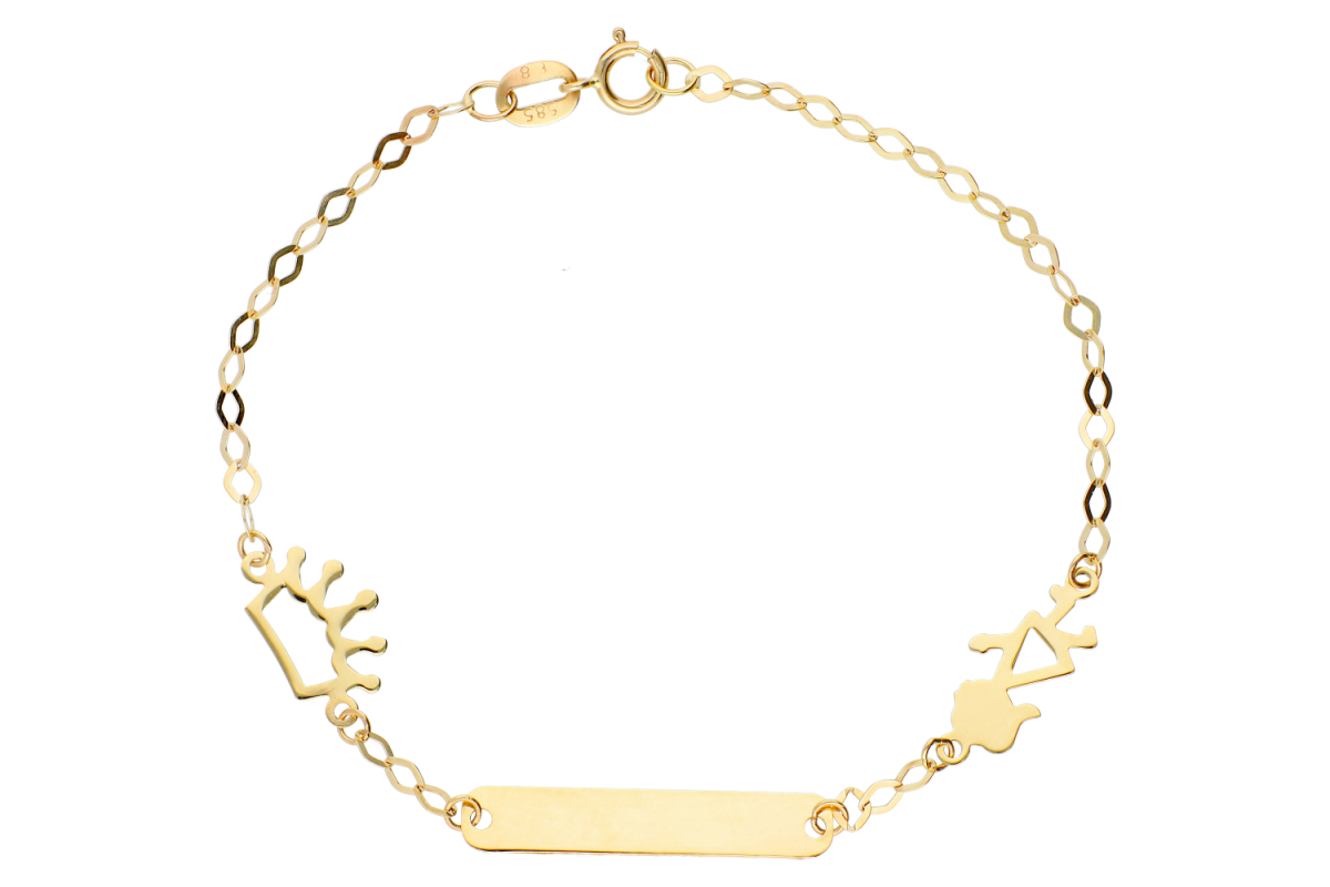 Bijuterii din aur - Bratari copii din aur 14K galben placuta gravabila fetita coronita