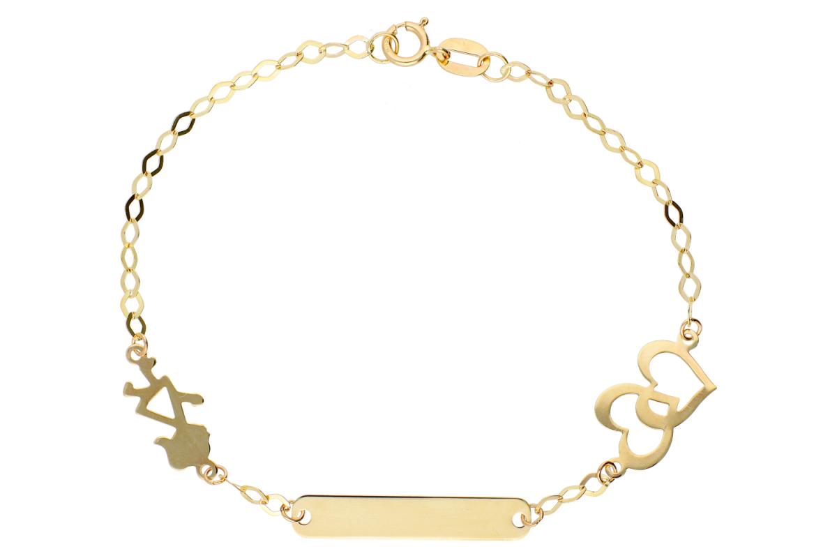 Bijuterii aur - Bratara copii din aur 14K galben placuta gravabila inimioare fetita