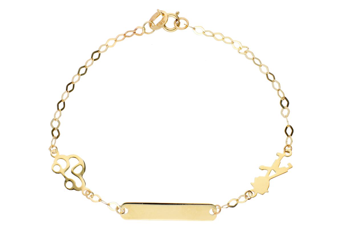 Bijuterii aur online - Bratara copii din aur 14K galben placuta gravabila masinuta baietel
