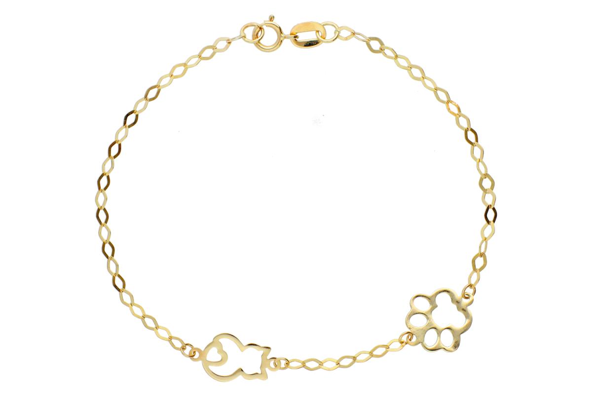 Bratara copii pisicuta labute bijuterii aur 14k