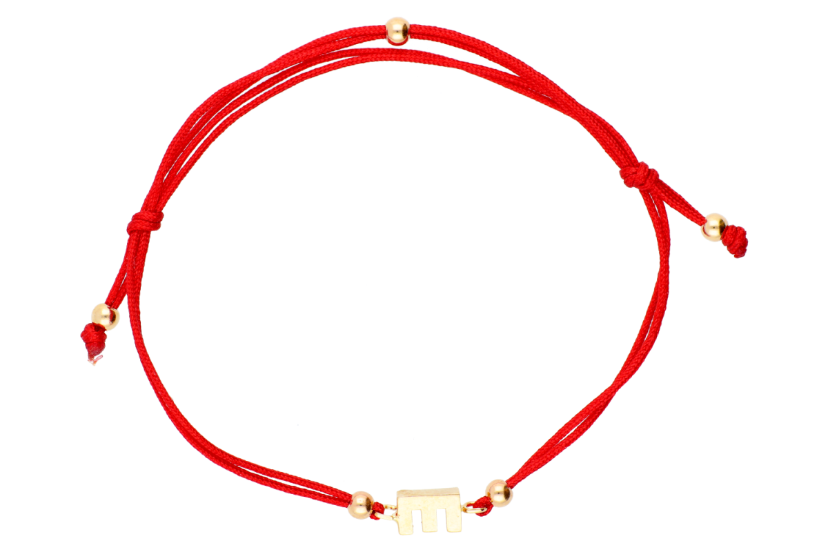 Bijuterii aur - Bratara cu snur aur 14K galben initiala E