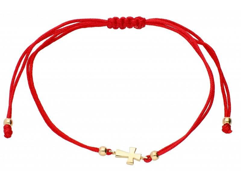 Bratara cu snur rosu pandant aur 14K