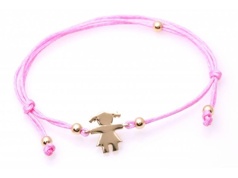 Bratara cu snur roz cu pandant fetita aur