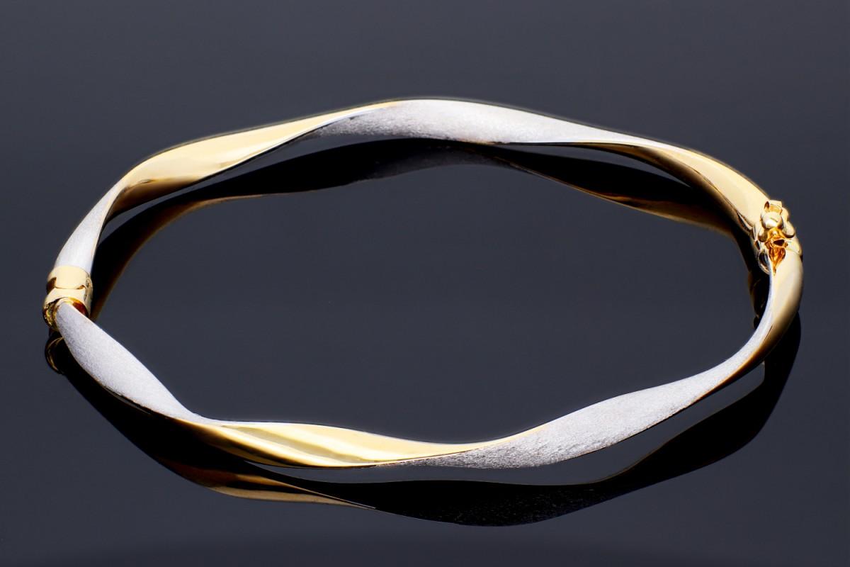 Bratara fixa aur alb mat-galben 14K