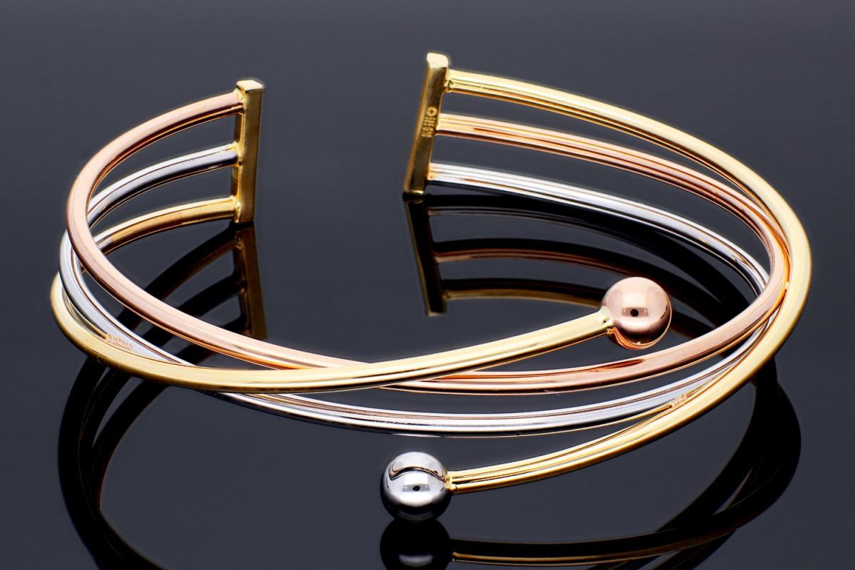 Bijuterii aur online - Bratara fixa aur 14K bile alb, galben si roz