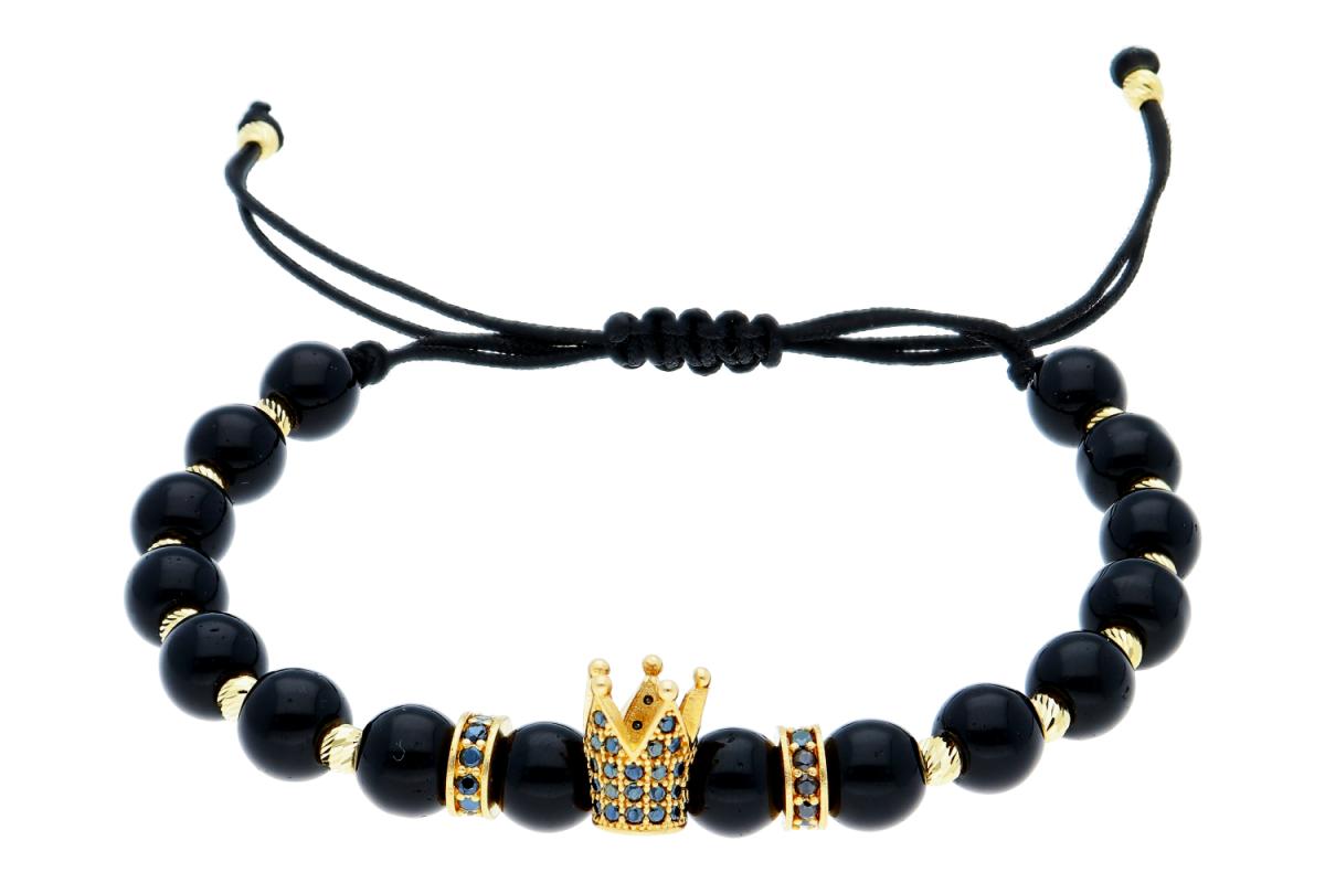 Bratari cu snur dama din aur 14K galben coronita cu zirconii negre
