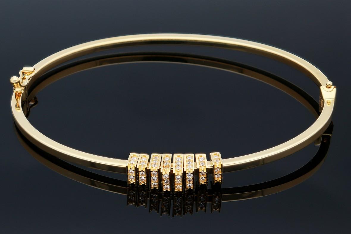 Bratari fixe dama aur 14K galben cu zirconii