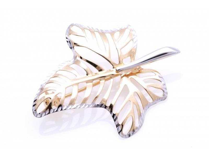 Brosa dama din aur 14K alb si galben frunza